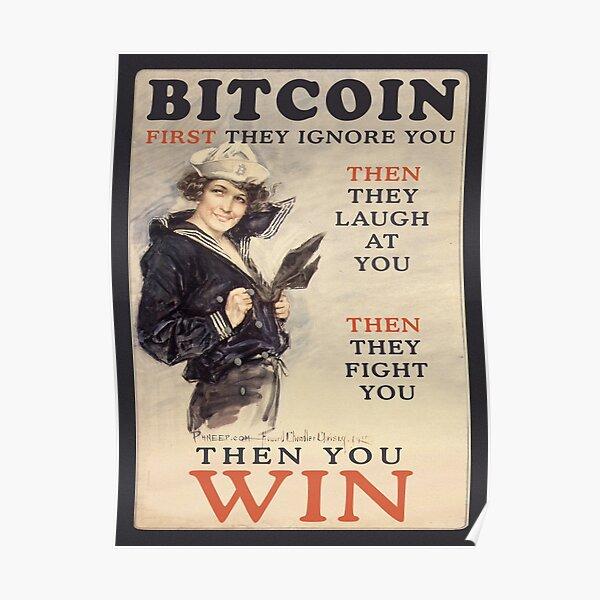 Bitcoin: Zuerst ignorieren sie dich Poster