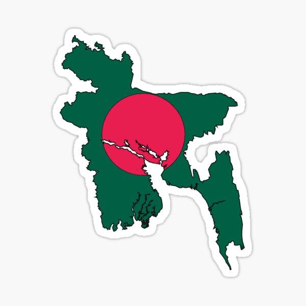 Bangladesh Map With Flag Sticker