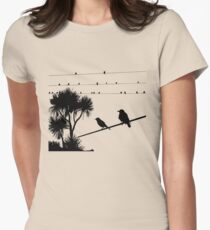 Birds on a wire Women's Fitted T-Shirt