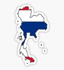 Thailand Map With Thai Flag Sticker