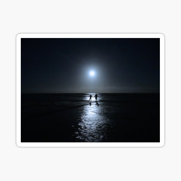 Dancing in the moonlight in blue Sticker