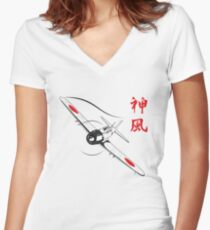 Divine wind Women's Fitted V-Neck T-Shirt
