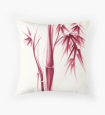 Inspiration - Sumie ink brush zen bamboo painting Throw Pillow