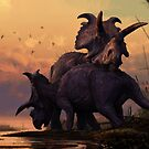 Albertaceratops Pair at Sunset by dkrentz