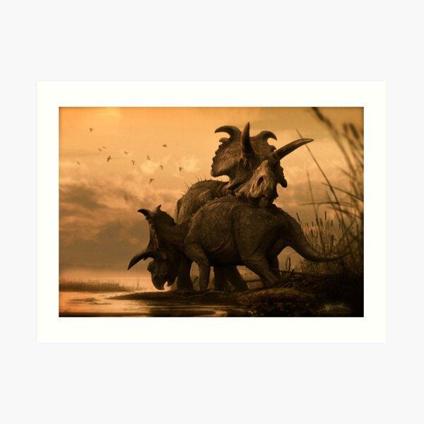 Albertaceratops Pair at Sunset- Sepia Toned Art Print