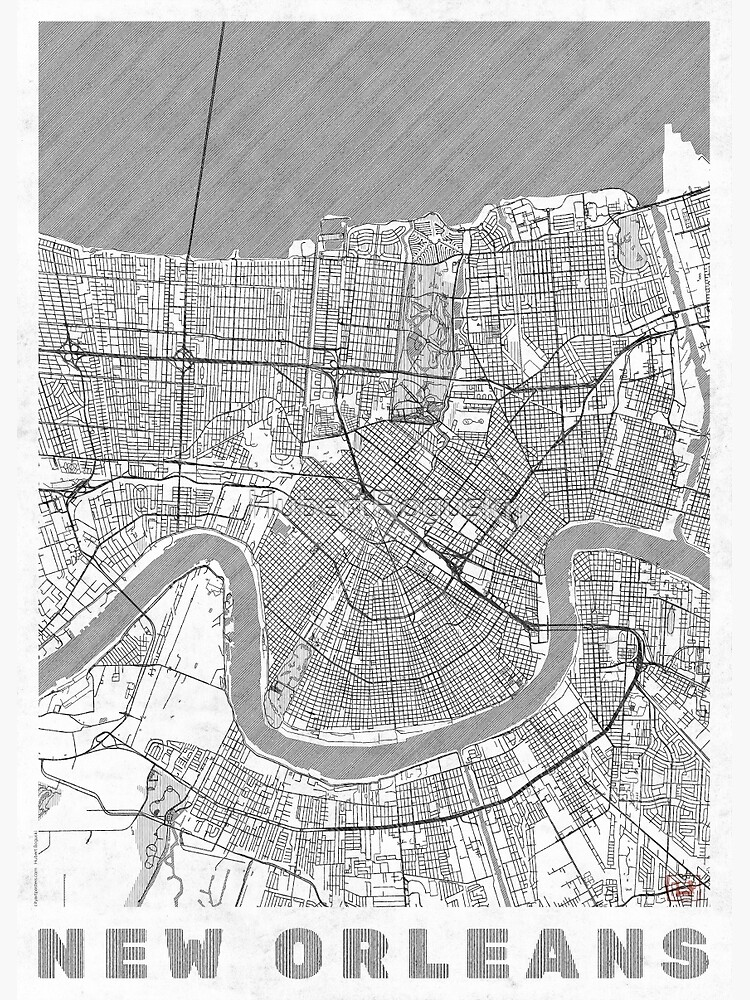 New Orleans Map Line by HubertRoguski