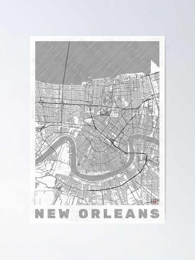 Alternate view of New Orleans Map Line Poster