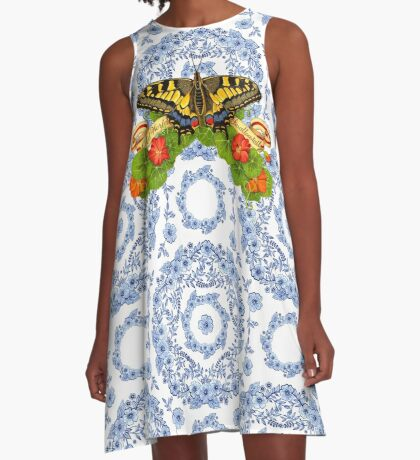 Old World Swallowtail and Blue Rhapsody A-Line Dress