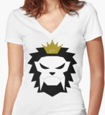 Sabre-toothed King Lion Skull - MulloIV Women's Fitted V-Neck T-Shirt