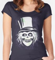 HATBOX GHOST WITH GRUNGY HAUNTED MANSION WALLPAPER Women's Fitted Scoop T-Shirt