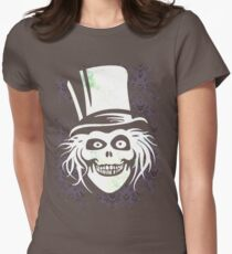 HATBOX GHOST WITH GRUNGY HAUNTED MANSION WALLPAPER Womens Fitted T-Shirt