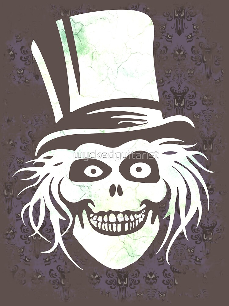 HATBOX GHOST WITH GRUNGY HAUNTED MANSION WALLPAPER by wyckedguitarist