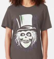 HATBOX GHOST WITH GRUNGY HAUNTED MANSION WALLPAPER Slim Fit T-Shirt