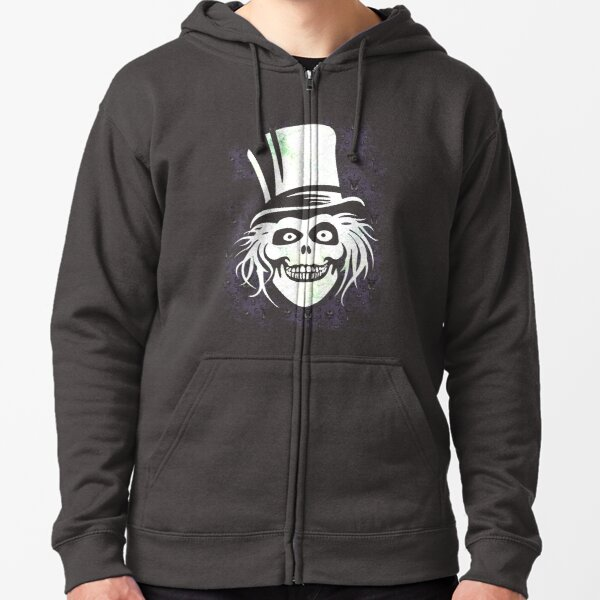 HATBOX GHOST WITH GRUNGY HAUNTED MANSION WALLPAPER Zipped Hoodie