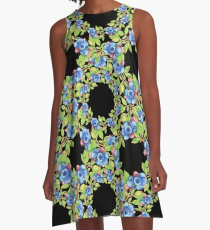 Swirling Maine Blueberries A-Line Dress