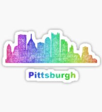 Rainbow Pittsburgh skyline Sticker