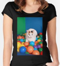 Cat Playing in balls Women's Fitted Scoop T-Shirt
