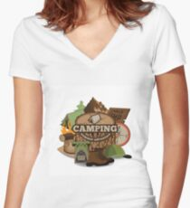 Camping insignia Women's Fitted V-Neck T-Shirt