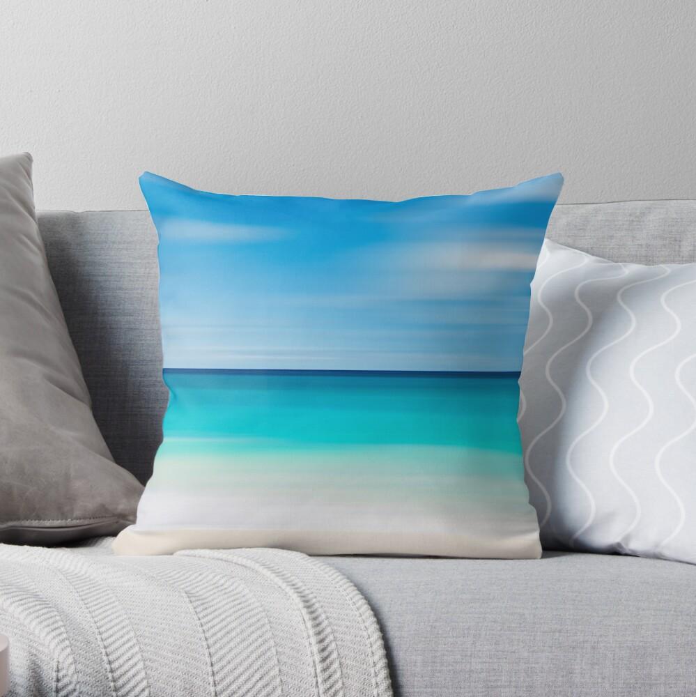 Coastal Decor Throw Pillow Beach Cottage Living Room Teal Turquoise Aqua Beige White Nautical Decor Tropical Beach Abstract Photo Pillow Dekokissen