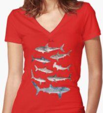 Sharks - Landscape Format Women's Fitted V-Neck T-Shirt