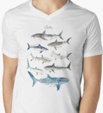 Camiseta de cuello en V Tiburones - Formato del paisaje