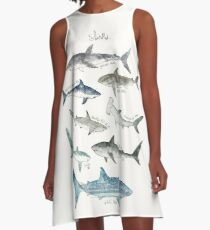 Sharks - Landscape Format A-Line Dress