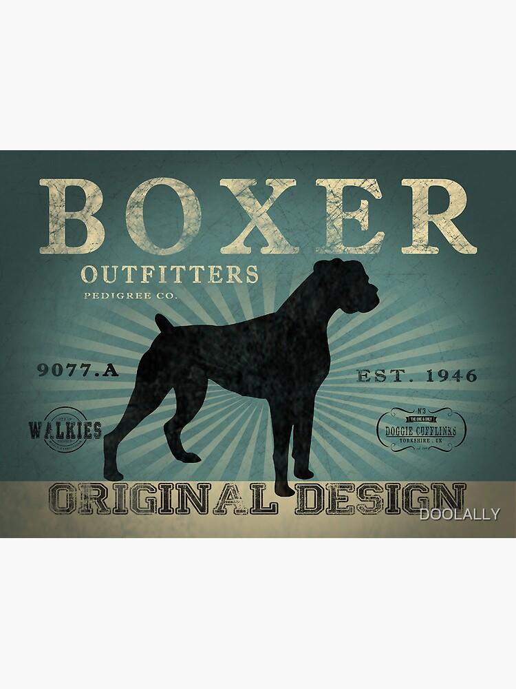 VINTAGE BOXER DOG ORIGINAL ART PRINT by DOOLALLY
