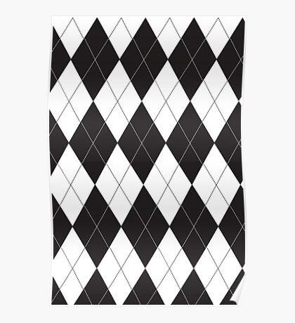 Black and White Argyle Poster
