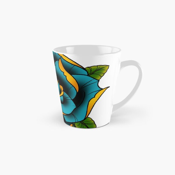 Neotraditional Rose in Blue Tall Mug
