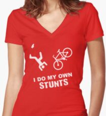 I Do My Own Stunts Cycling - Funny Bike Women's Fitted V-Neck T-Shirt