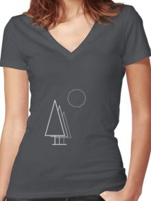 Light linear Trees and Moon. Women's Fitted V-Neck T-Shirt