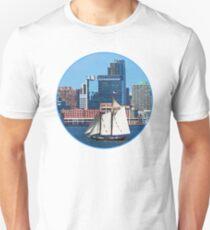 Yacht Against Manhattan Skyline T-Shirt