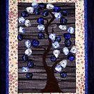 Flowering Tree Quilt in Purple - Print by WonderMeMosaics