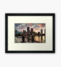 Boston Harbor Clouds Framed Print