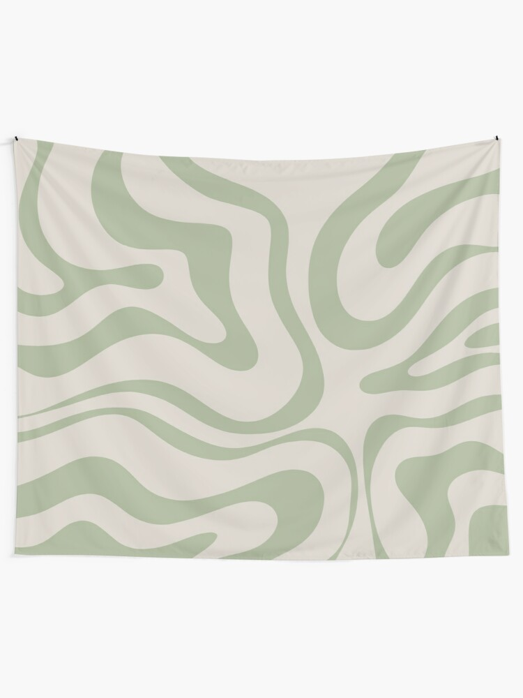 Alternate view of Liquid Swirl Abstract Pattern in Beige and Sage Green Tapestry