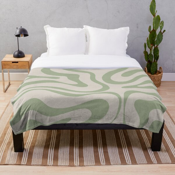 Liquid Swirl Abstract Pattern in Beige and Sage Green Throw Blanket