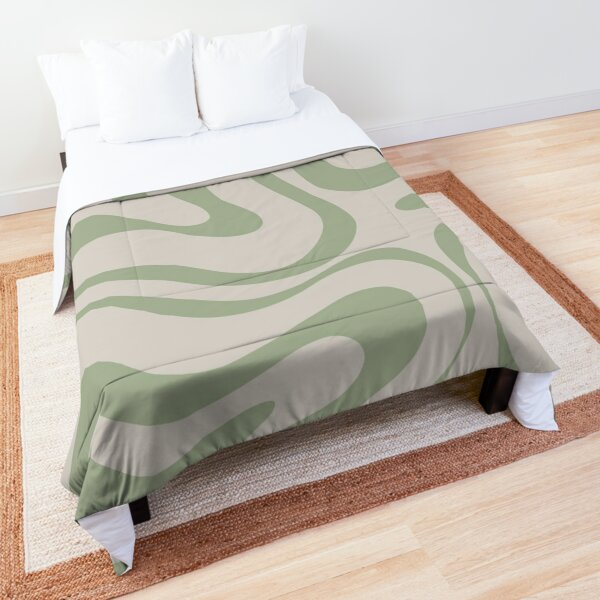 Liquid Swirl Abstract Pattern in Beige and Sage Green Comforter