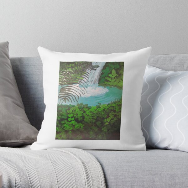 Waterfall with Palm Throw Pillow