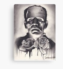 Original Charcoal Drawing of Frankenstein with Roses Canvas Print