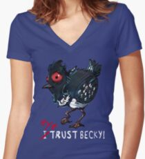 I (eye) trust Becky! (Finding Dory) Women's Fitted V-Neck T-Shirt