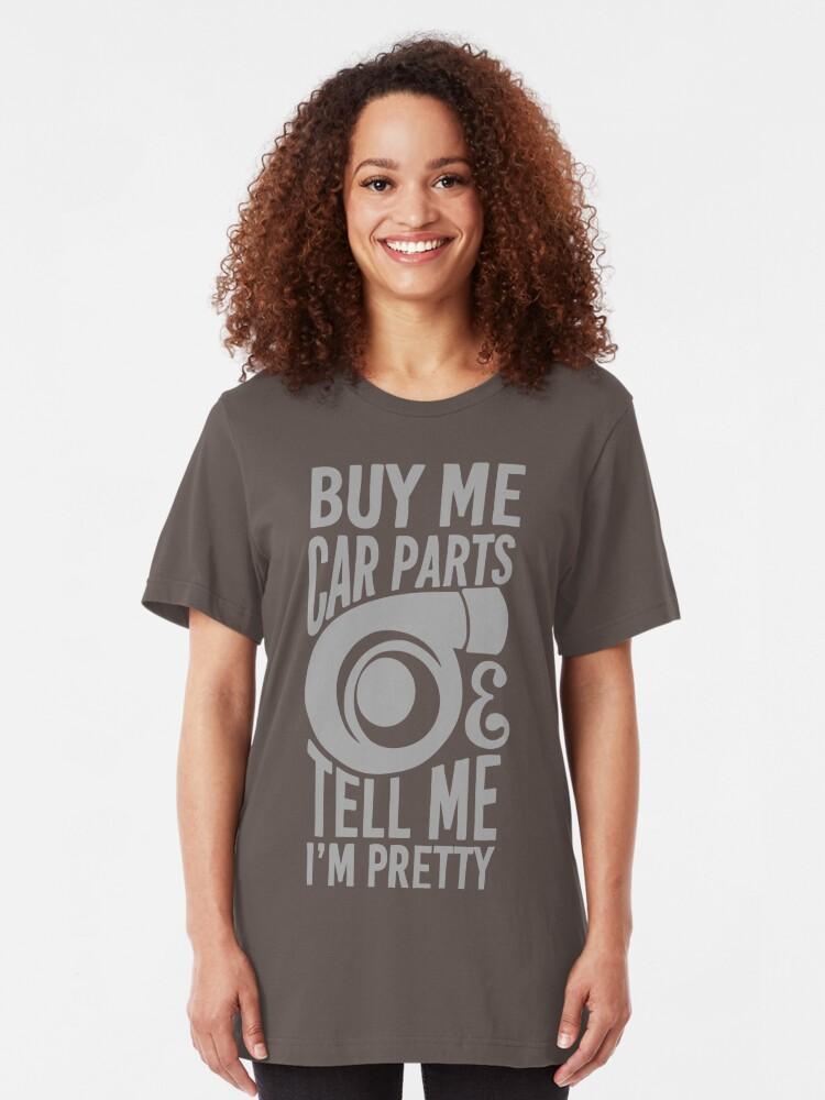 Vista alternativa de Camiseta ajustada Cómprame partes de autos y dime que soy bonita