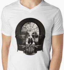 Camiseta para hombre de cuello en v Habitación cráneo