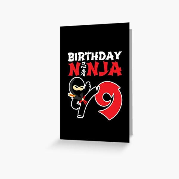 Kids Birthday Ninja - 9 Year Old Ninja Birthday Party Theme Greeting Card