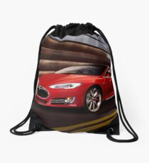Red Tesla Model S red luxury electric car speeding in a tunnel art photo print Drawstring Bag