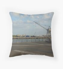 Views of Red Hook - Ocean, Port and Crane Throw Pillow