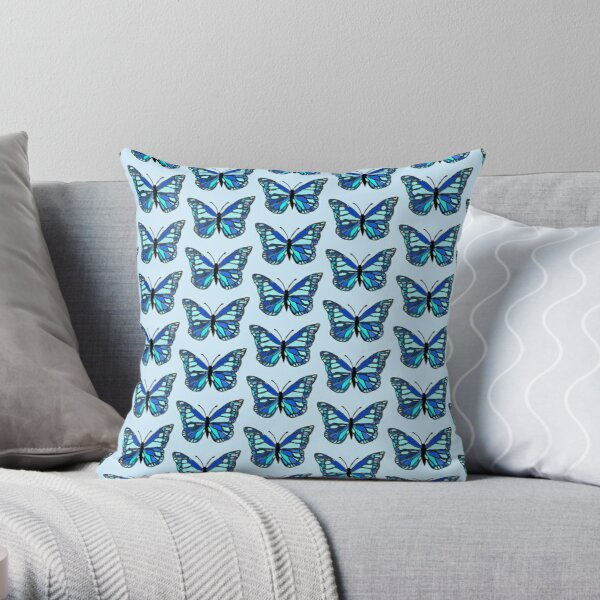 Blue Winged Butterfly  Throw Pillow