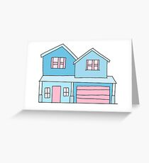 cute blue suburban house Greeting Card