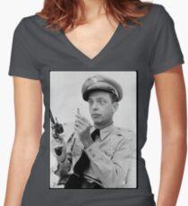 Gun Crazy Barney Women's Fitted V-Neck T-Shirt