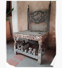 Kenyan African antique carved chair Poster