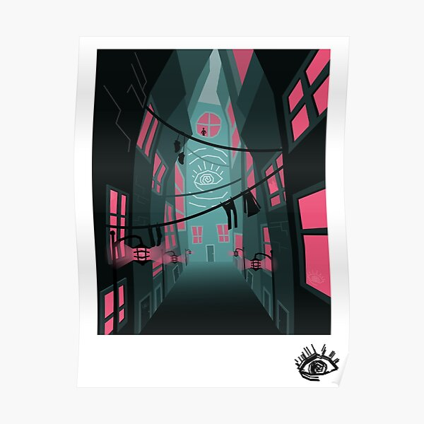 Spooky City Alley Postcard Poster